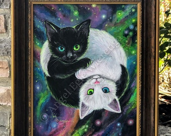 "ORIGINAL PAINTING ""Purrfect Harmony"" -  cat art by Angel Egle Wierenga, EWArtwork, KittyWorks, Please Read Description!"