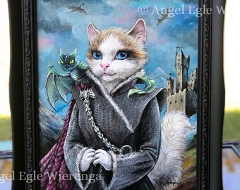 "ORIGINAL PAINTING ""Katleesi"", cat art by Angel Egle Wierenga, KittyWorks, EWArtwork, please read description."