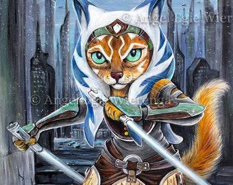 "Prints & CANVASES, ""Catsoka Tano"", Ashoka Tano, Star Wars cat art by Angel Egle Wierenga (please read ""Item details"" in Description)"