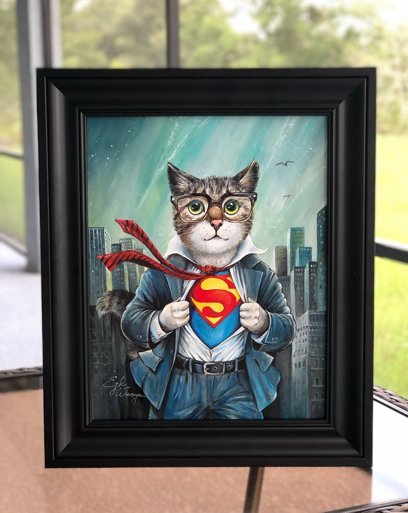 ORIGINAL PAINTING The Cat of Steel  by Angel Egle Wierenga image 0