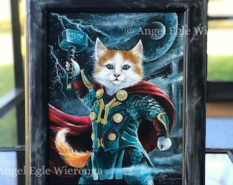 "ORIGINAL PAINTING ""Thor Kitty"" -  cat art by Angel Egle Wierenga, KittyWorks, EWArtwork, Please Read Description!"