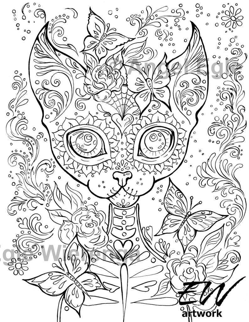 Sugar Kitty  'Download & Print' Coloring Page image 0