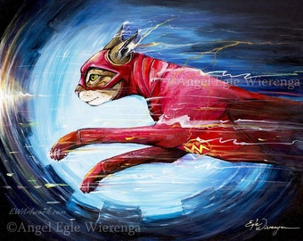 """Prints & CANVASES, """"The Flash Cat"""", The Flash, Wall Art, cat art by Angel Egle Wierenga (please read """"Item details"""" in Description)"""
