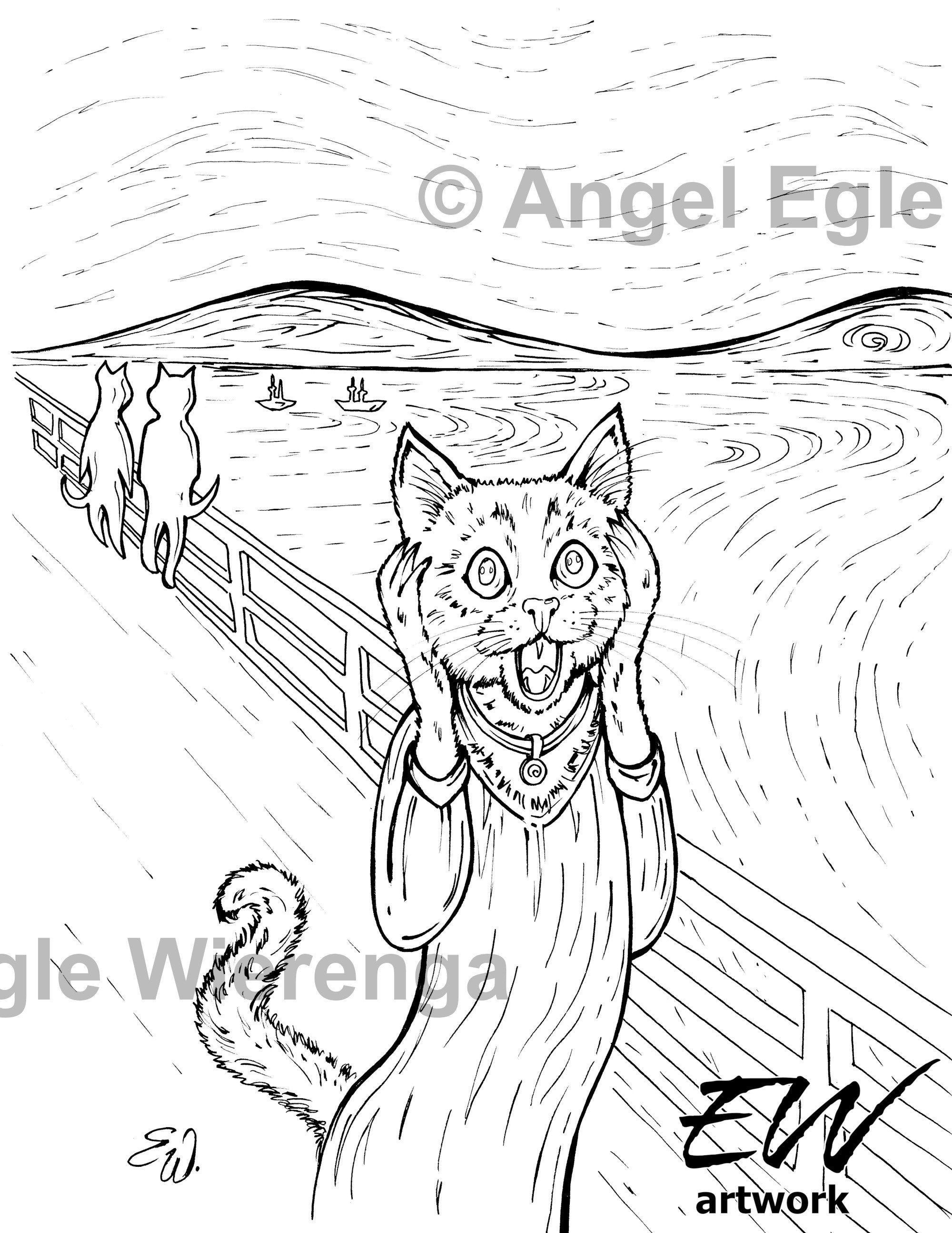 The Cat Scream - 'Download & Print' Coloring Page