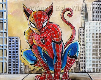 """Prints & CANVASES, """"Spider Cat"""", Spider Man, Superhero, Wall Art, Cat art by Angel Egle Wierenga (please read """"Item details"""" in Description)"""
