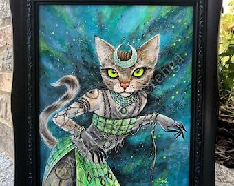 "ORIGINAL PAINTING ""The Encatress"", Enchantress, Cat Art, Acrylic painting, Wall Art (please read description)"