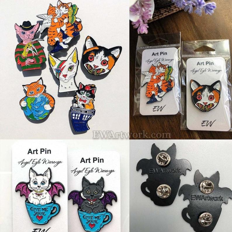 ENAMEL PINS Collectible Cat Art Pins Soft Enamel Cat Art by image 0