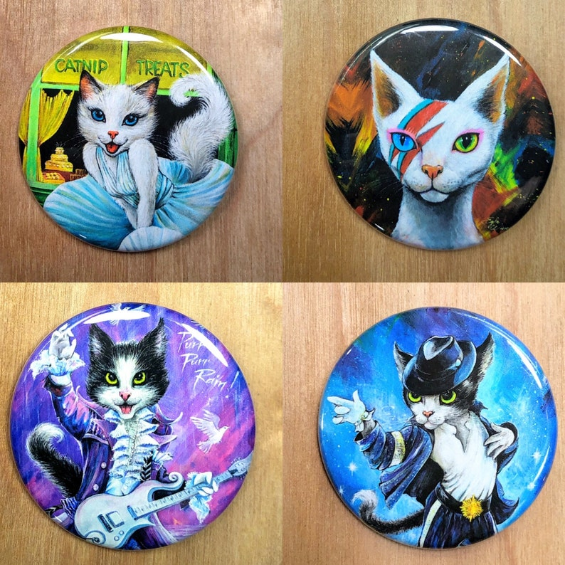 1.75 metal pinback art buttons by Angel Egle Wierenga All 4 buttons