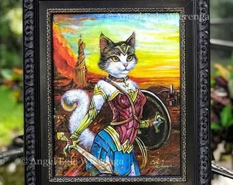 "ORIGINAL PAINTING ""Meowzonian Purrincess"" - cat art by Angel Egle Wierenga, KittyWorks, EWArtwork, Please Read Description!"