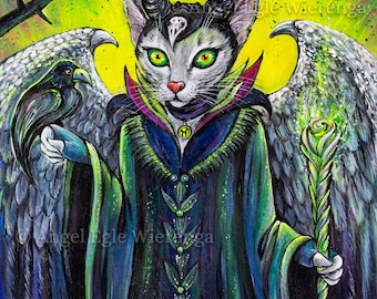 """Prints & CANVASES, """"Meowlificent"""", Maleficent, Wall art, cat art by Angel Egle Wierenga (please read """"Item details"""" in Description)"""
