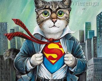 "Art Prints & CANVASES, ""The Cat of Steel"", Superman Cat"", Hero Cat, Art by Angel Egle Wierenga, EWArtwork (Please read Description for info)"