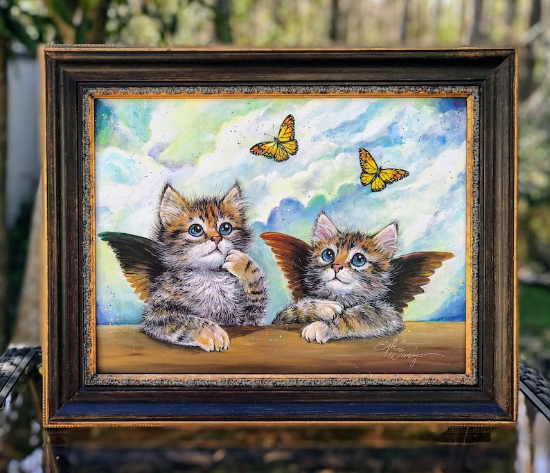 ORIGINAL PAINTING The Sistine Kittens   Egle image 0