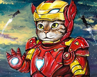 """Prints & CANVASES, """"Iron Kitty"""", Iron Man, superhero, wall art, cat art by Angel Egle wierenga (please read """"Item details"""" in Description)"""