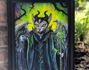 "ORIGINAL PAINTING ""Meowlificent"", Maleficent, Cat Art, Acrylic painting, Wall Art (please read description)"