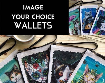 """Linen WALLETS, Cosmetic/Device bag. YOUR CHOICE! Pick any images from my entire shop! (Please Read Item """"Description"""" for details!)."""