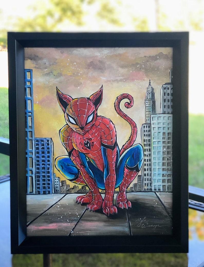 ORIGINAL PAINTING Spider Kitty Zombie Cat   Egle image 0