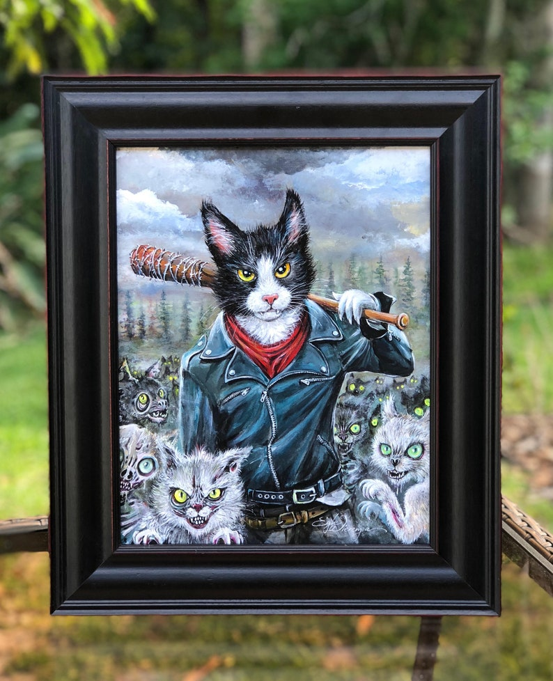 ORIGINAL PAINTING Meowgan and Purrcille   Egle image 0