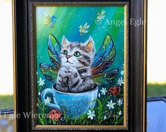 "ORIGINAL PAINTING ""Little Dreamer"" - cat art by Angel Egle Wierenga, EWArtwork, KittyWorks, Please Read Description!"