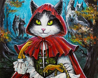 """Prints & CANVASES, """"Fearless Red """", Red Riding Hood, Cat art by EWArtwork (Please read Description for details)"""