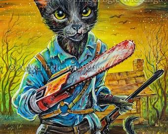 "Prints & CANVASES, ""Kitty Ash"", Evil Dead, Ash cat, horror, Cat art by Angel Egle Wierenga, (Please read the details below in Description)"