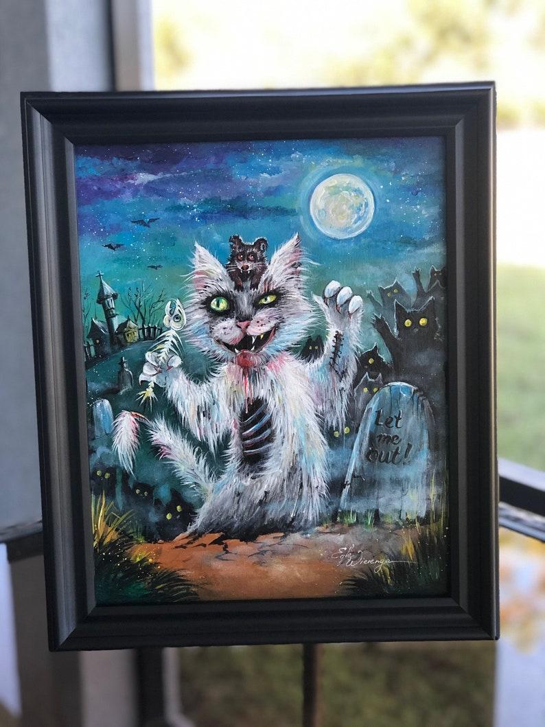 ORIGINAL PAINTING Let Me Out Zombie Cat   Egle image 0