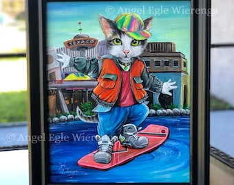 """ORIGINAL PAINTING """"Marty McMeow"""" - Acrylics, cat art  by Angel Egle Wierenga, EWArtwork, KittyWorks (Please read description for details)"""