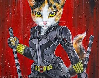 "Prints & CANVASES, ""Catasha Romeownoff"", Black Widow, Wall Art, cat art by Angel Egle Wierenga (please read ""Item details"" in Description)"