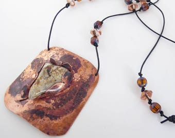 Lacy Agate Captured in Exploding Copper, painted with fire copper, copper glass beads, leather cord