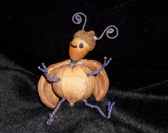 """GROVE SPRITE Fairy Pixie """"Nutty Buddy"""" - Hand Crafted Figurine - OOAK - Adorable!!"""
