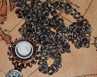 STEAMPUNK / DIESELPUNK Blinking Light Temporal Tracking Beacon Pendant Necklace #3 - Custom - COOL!!
