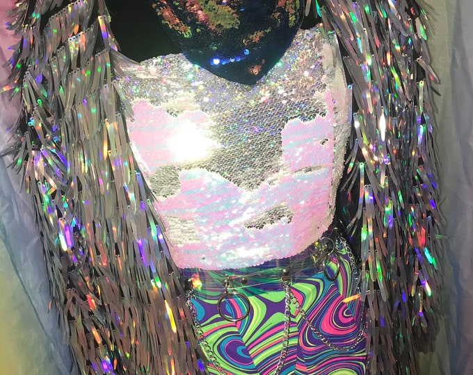 Featured listing image: Holographic Tinsel Sequin Duster