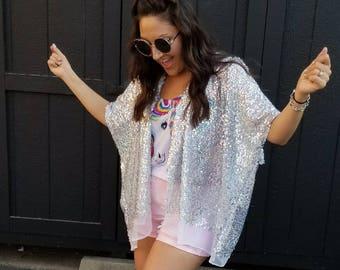 Holographic Sparkly Sequin Kimono in  White
