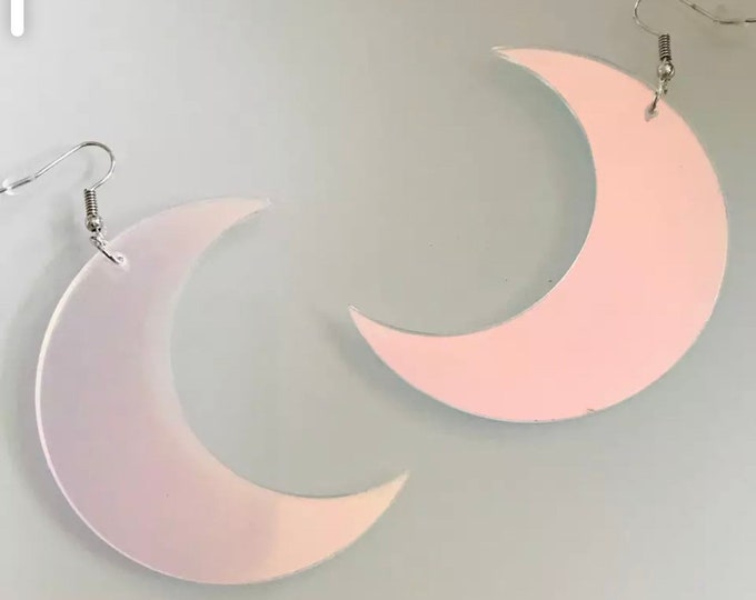 Featured listing image: Iridescent Acrylic Crescent Moon Earrings, Laser Cut Acrylic Earrings,  Statement Earrings, crescent moon Halloween chandelier earrings