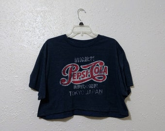 dff26fcaddb3 Upcycled Recycled Repurposed Savvy Pepsi Tokyo Crop Top Size XL Upcycled  Clothing Harajuku Fashion Pepsi Shirt Kawaii Clothing Kawaii Shirt