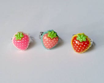 Strawberry Adjustable Ring - Kawaii Ring Kawaii Jewelry Fairy Kei Jewelry Strawberry Ring Strawberry Jewelry Sweet Lolita Jewelry Harajuku