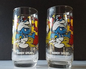 PERFECT GIFT Collection SET Vintage Wallace Berry /& Co Smurf Glasses 1982 1983
