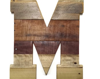 letter m reclaimed pallet wood rustic home decor wood letters large wood letters sealed rustic wedding 16 x 12 wooden letters 16