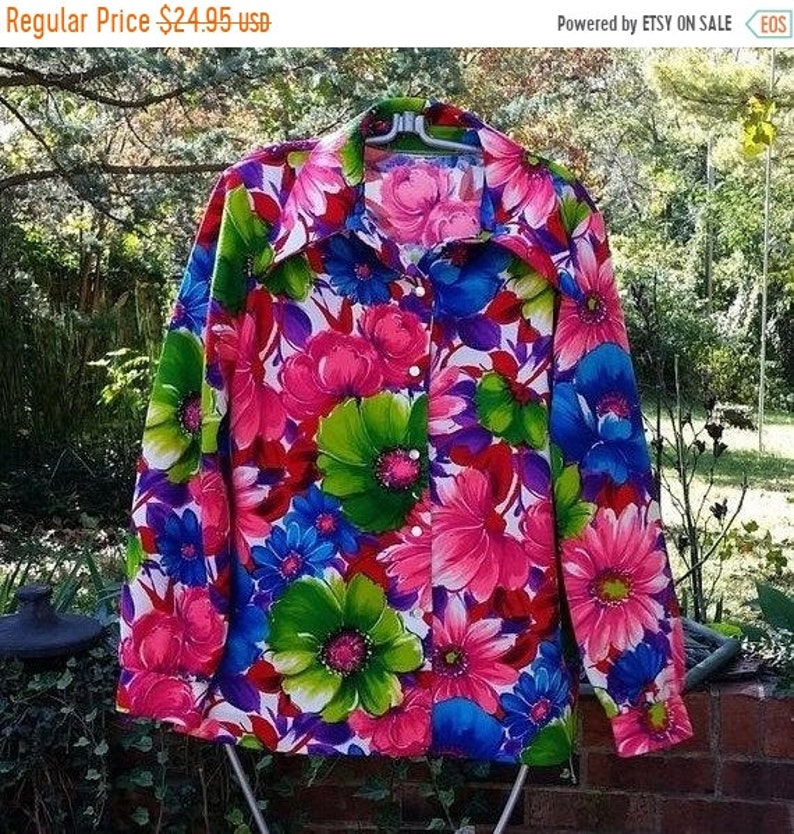 50/% OFF SALE Vintage 1960s Mod Blouse size mediumlarge hippie boho collared womens flower power shirt pink blue red purple lime green ladie
