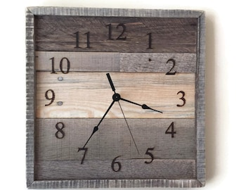 pallet wall clock, Rustic Home Decor, reclaimed wood,  Rustic Wall Decor, laser engraved,  pallet wall decor, wall clock, wedding gift