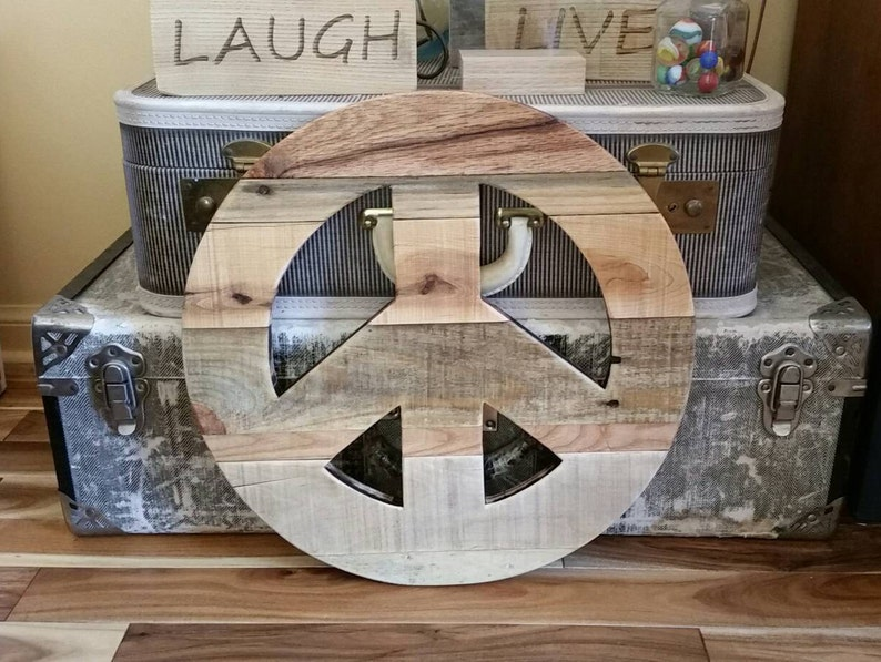 wood Peace Sign Reclaimed Pallet Wood Peace Sign Rustic home decor large wood peace sign Pallet Wood 16