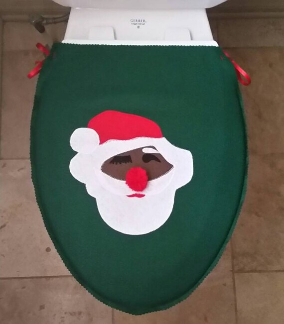 Phenomenal Santa Toilet Seat Cover Hiding Eyes Dark Skin Santa African American Santa Felt Red Green White Bathroom Christmas Decor Secret Santa Ocoug Best Dining Table And Chair Ideas Images Ocougorg