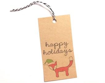 Fox Christmas Gift Tag Set Holiday Gift Tag Handmade Kraft Gift Tag Christmas Gift Tag Set Holiday Gift Tag Pack Woodland Christmas Gift Tag