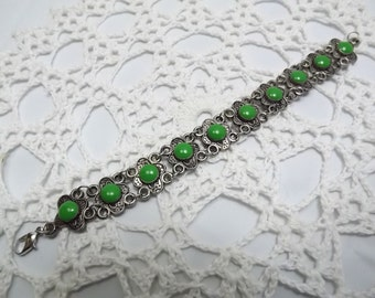 Gorgeous Vintage Amber and Hefty Silver Adjustable Bracelet 8.5-9 inch