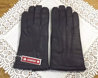 Driving Gloves Black Lined Leather Gloves, NOS by Austin, SZ. 9 1/2