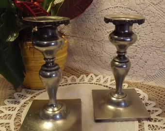 Quadruple Plated Silver Candleholders Vintage Victor Silver Co. No. 2560, Shabby Chic Decor for Elegant Dining