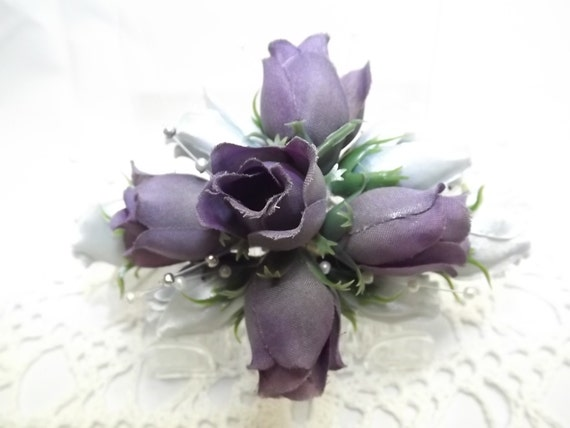 Fade out purple and silver silk flower hair comb bridal party etsy image 0 mightylinksfo