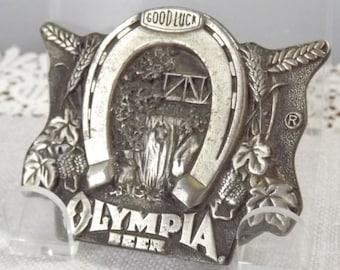 Vintage Olympia Beer Good Luck Silver Metal Belt Buckle and Bonus BOTTLE OPENER
