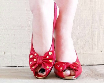 c5a05dbd9e2 1980s Bruno Magli Red Leather Kitten Heels with Gold Polka Dot Bows