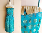 1950s Chinese Silk Satin Brocade Wiggle Dress Vintage 50s Aqua and Gold Oriental Print Spaghetti Strap Sheath Dress Women 39 s Formal Small