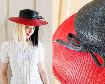 2104584dfd755a 1960s Frank Olive Red and Black Wide Brim Hat | Vintage 60s Straw Style  Spring Summer Boater | Womens Hats